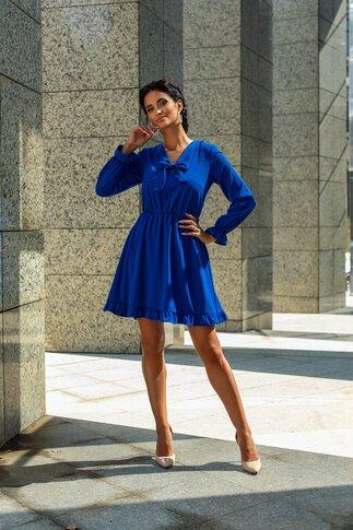 Rochie Moze albastra cu guler tip esarfa