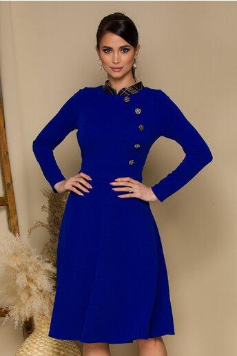 Rochie Moze albastra cu imprimeu in carouri la guler si nasturi