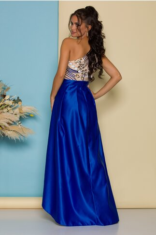 Rochie Moze albastra cu lungime asimetrica si broderie din paiete la bust