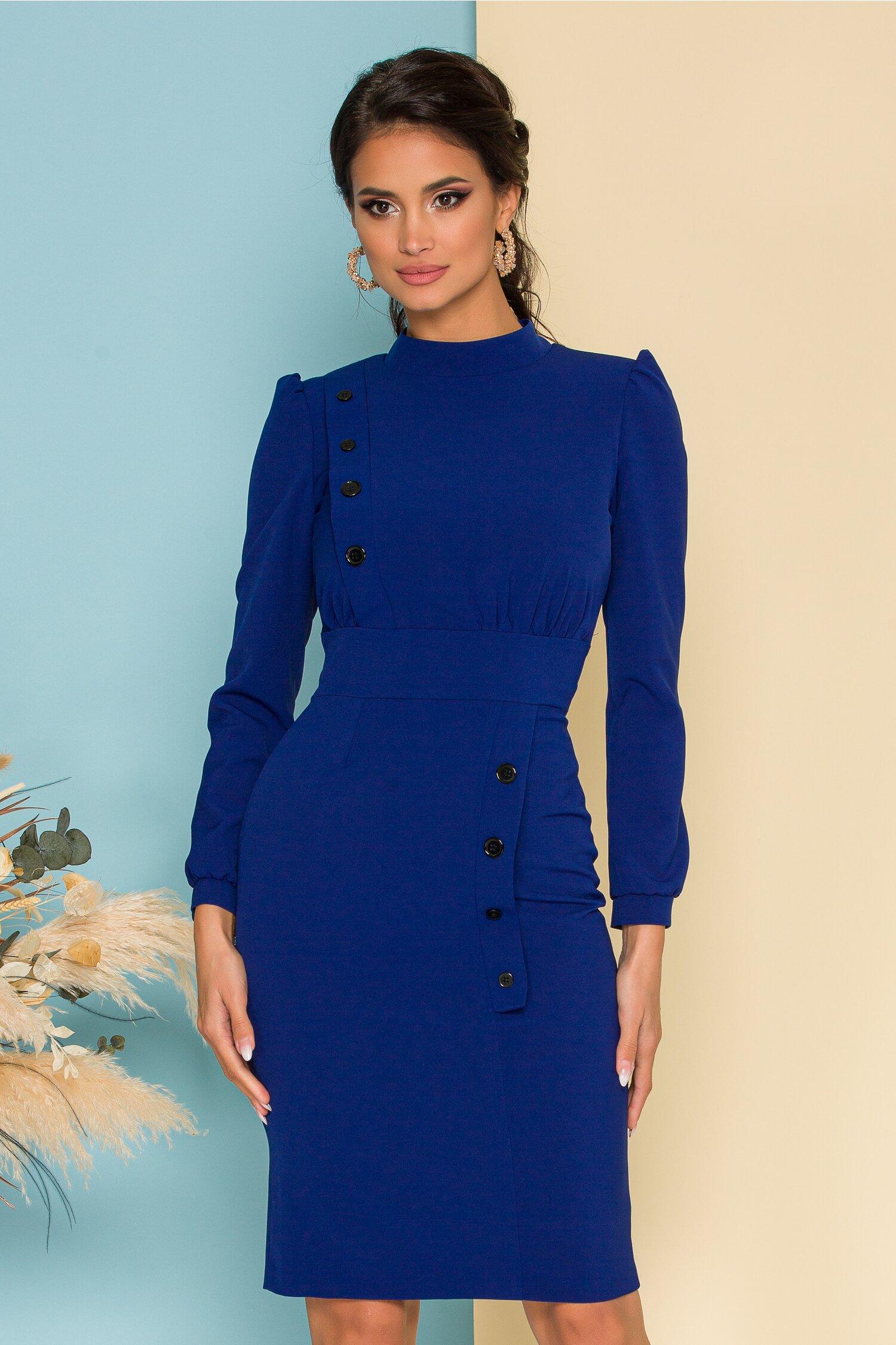 Rochie Moze albastra cu nasturi decorativi la bust si pe fusta