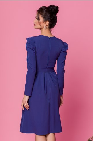 Rochie Moze albastra cu nasturi decortivi la bust si cordon in talie
