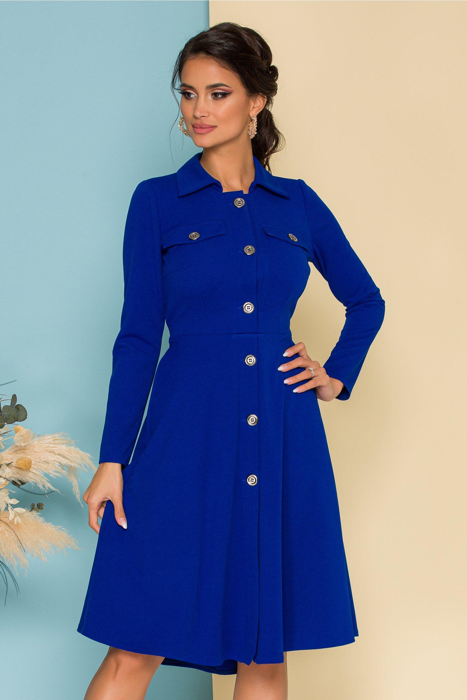 Rochie Moze albastra cu nasturi si cordon in talie