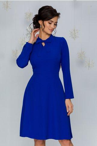 Rochie Moze albastra cu pliuri la umeri