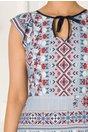 Rochie Moze albastra cu print traditional