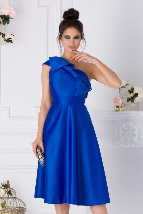 Rochie Moze albastra cu un umar si funda