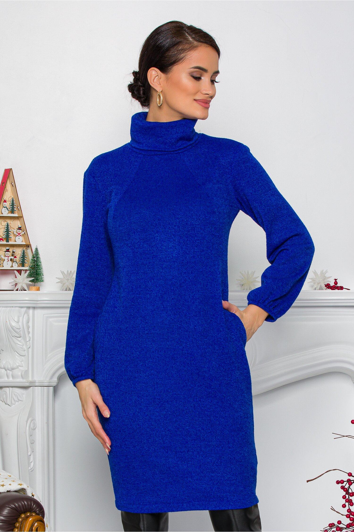 Rochie Moze albastra lejera cu guler inalt