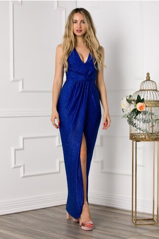 Rochie Moze albastra lunga cu lurex argintiu