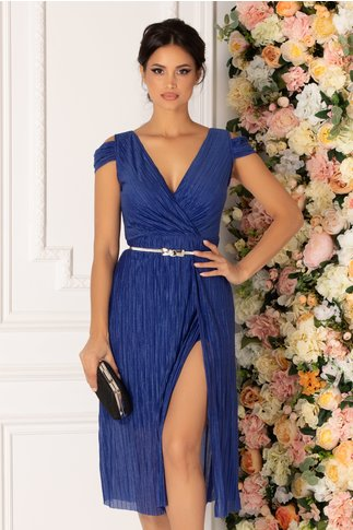 Rochie Moze albastra plisata cu gliter si umeri decupati