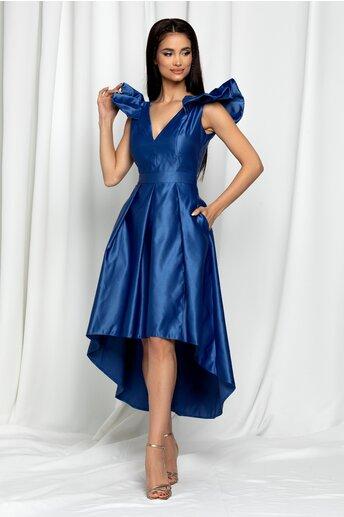 Rochie Moze albastra satinata cu pliuri pe fusta