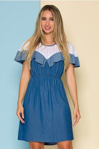 Rochie Moze albastru-denim cu perforatii la bust