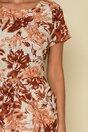 Rochie Moze beige cu imprimeu floral caramiziu