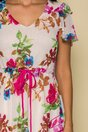 Rochie Moze bej din voal cu snur in talie si imprimeu floral
