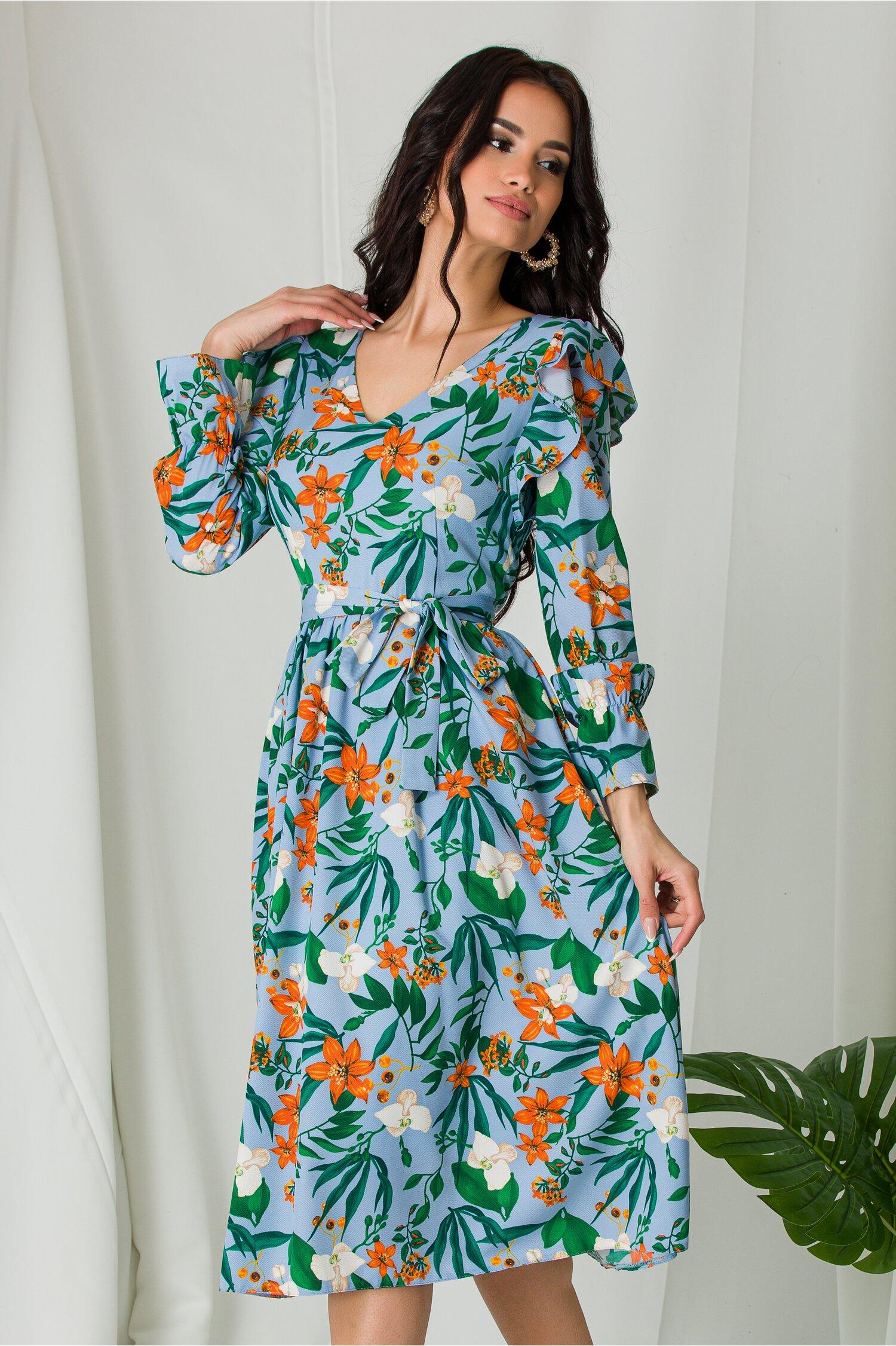 Rochie Moze bleu cu imprimeuri florale orange