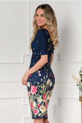 Rochie Moze bleumarin cu flori colorate