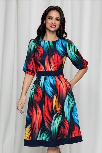 Rochie Moze bleumarin cu imprimeu colorat