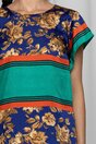 Rochie Moze bleumarin cu imprimeu floral si dungi