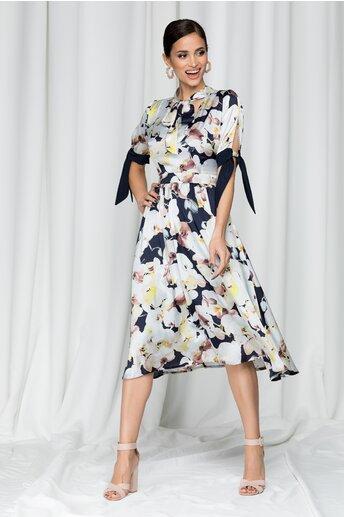 Rochie Moze bleumarin cu imprimeu floral si guler tip esarfa