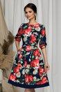 Rochie Moze bleumarin cu imprimeuri florale colorate