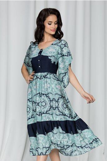Rochie Moze bleumarin cu print verde mint