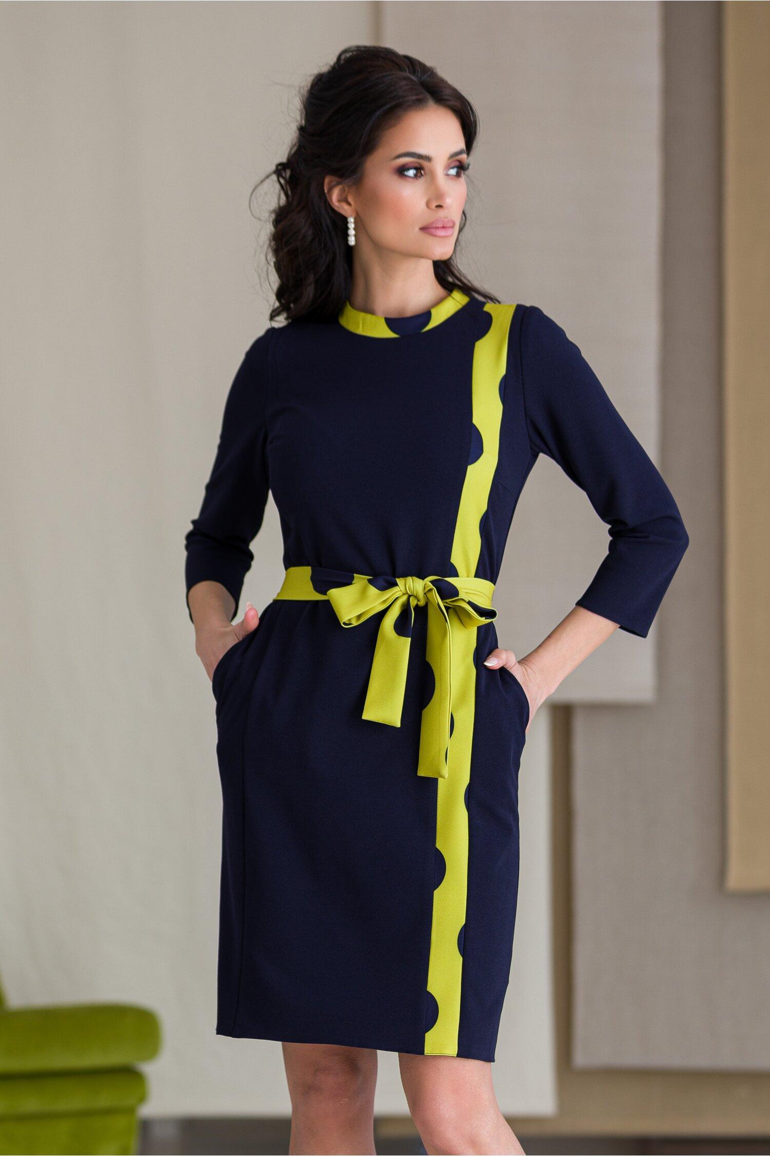 Rochie Moze bleumarin cu vernil si funda in talie
