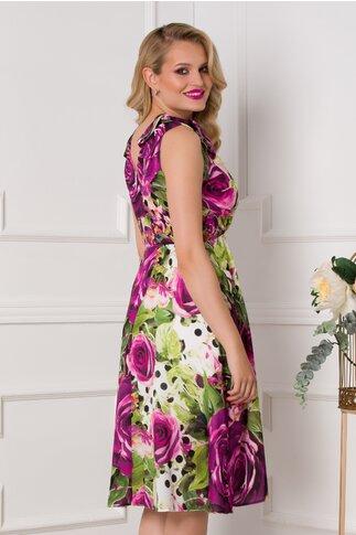 Rochie Moze clos cu imprimeuri florale mov