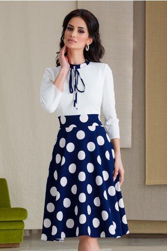 Rochie Moze cu bust alb si fusta bleumarin cu buline