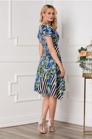 Rochie Moze cu dungi si imprimeu floral in nuante de albastru