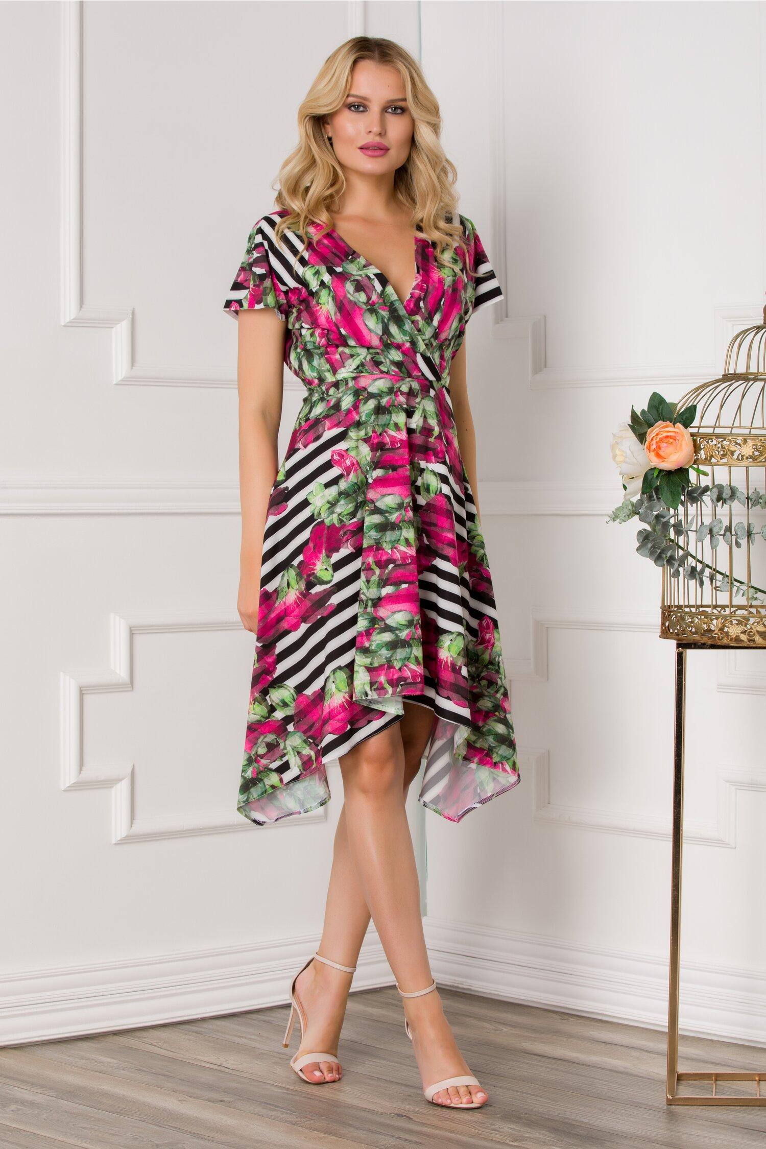 rochie moze cu dungi si imprimeu floral in nuante de fucsia 534927 4