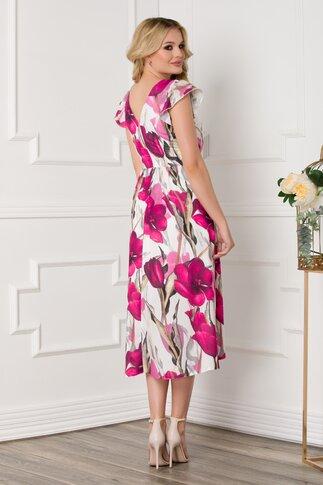 Rochie Moze cu imprimeu floral roz si volane la maneci