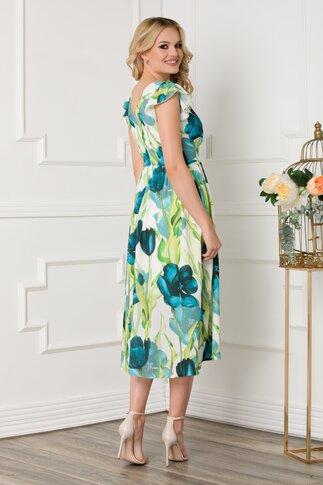 Rochie Moze cu imprimeu floral verde si volane la maneci
