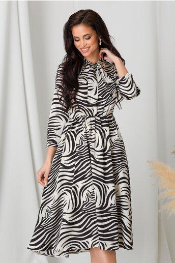 Rochie Moze cu imprimeu zebra negru cu alb