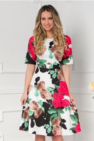 Rochie Moze cu imprimeuri florale rosii