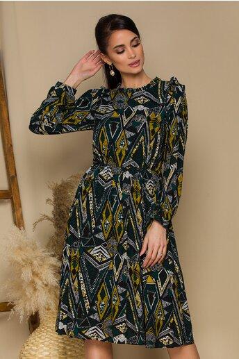 Rochie Moze cu pliuri la umeri si imprimeu geometric galben