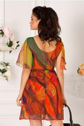 Rochie Moze de vara orange cu imprimeu divers