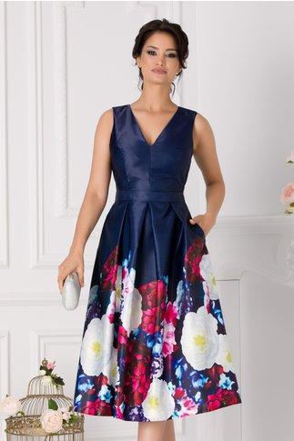 Rochie Moze din tafta bleumarin cu imprimeu floral la baza