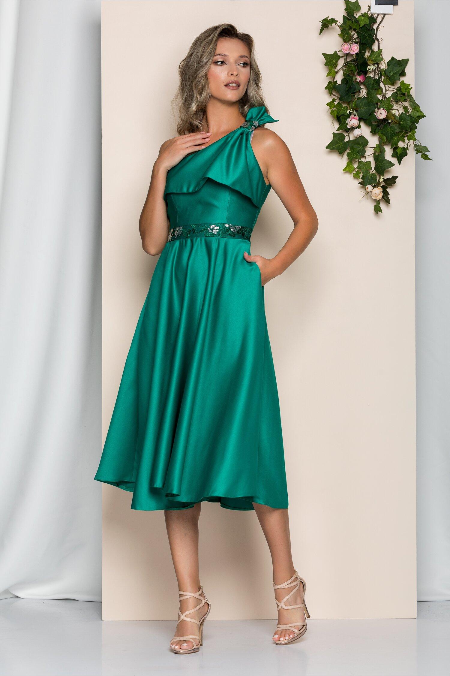 Rochie Moze din tafta verde cu buzunare si design tip funda la umar