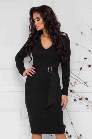 Rochie Moze din tricot neagru cu fronseu la maneci