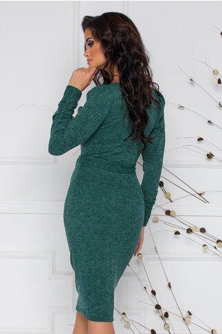 Rochie Moze din tricot verde cu fronseu la maneci