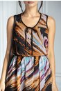 Rochie Moze din voal cu imprimeu multicolor