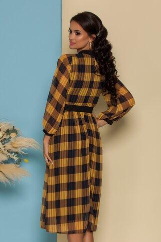 Rochie Moze din voal in carouri galben mustar cu nasturi