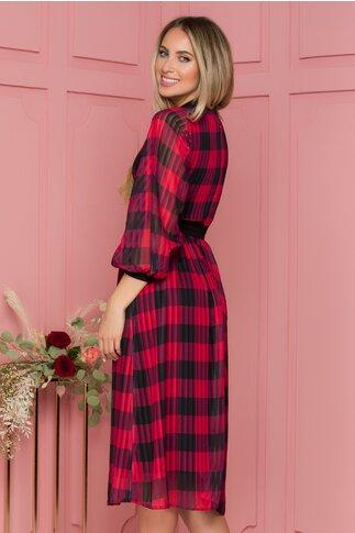 Rochie Moze din voal  in carouri rosii cu nasturi