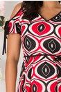 Rochie Moze evazata rosie cu imprimeu abstract