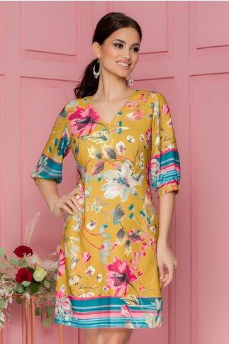 Rochie Moze galben mustar cu imprimeu floral pastelat