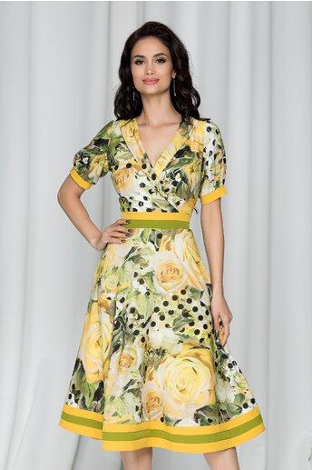 Rochie Moze galbena cu imprimeu floral si guler tip sal