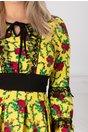 Rochie Moze Gipsy galbena cu imprimeu floral