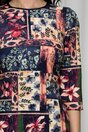 Rochie Moze indigo cu imprimeuri florale si maneci trei sferturi