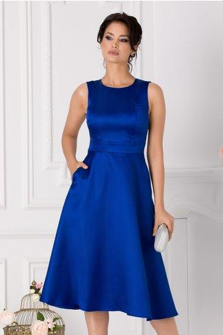 Rochie Moze midi albastra din tafta