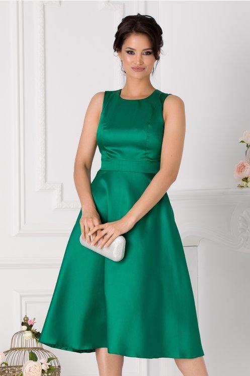 Rochie Moze midi verde din tafta