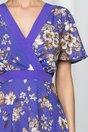 Rochie Moze mov cu imprimeu floral si decolteu petrecut