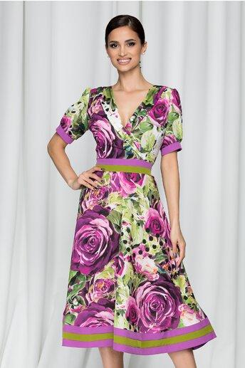 Rochie Moze mov cu imprimeu floral si guler tip sal